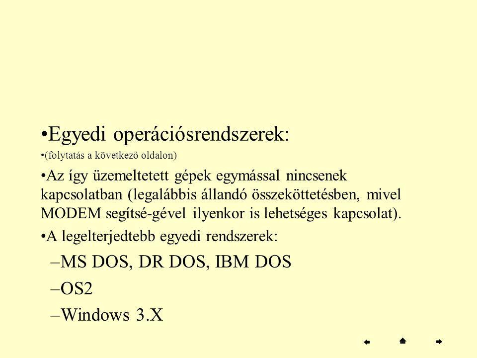 Egyedi operációsrendszerek: (folytatás a következő oldalon) Az így üzemeltetett gépek egymással nincsenek kapcsolatban (legalábbis állandó összeköttet