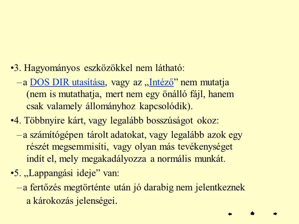 """3. Hagyományos eszközökkel nem látható: –a DOS DIR utasítása, vagy az """"Intéző"""" nem mutatja (nem is mutathatja, mert nem egy önálló fájl, hanem csak va"""