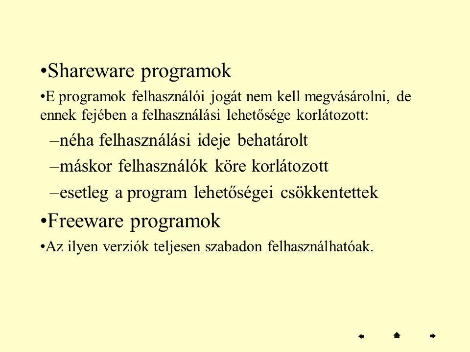 Shareware programok E programok felhasználói jogát nem kell megvásárolni, de ennek fejében a felhasználási lehetősége korlátozott: –néha felhasználási