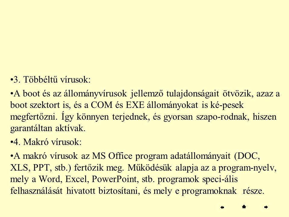 3. Többéltű vírusok: A boot és az állományvírusok jellemző tulajdonságait ötvözik, azaz a boot szektort is, és a COM és EXE állományokat is ké-pesek m