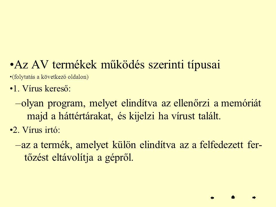 Az AV termékek működés szerinti típusai (folytatás a következő oldalon) 1. Vírus kereső: –olyan program, melyet elindítva az ellenőrzi a memóriát majd