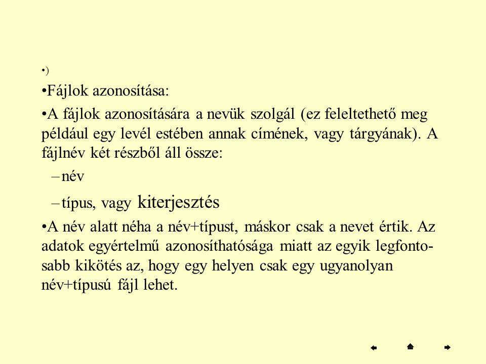 ) Fájlok azonosítása: A fájlok azonosítására a nevük szolgál (ez feleltethető meg például egy levél estében annak címének, vagy tárgyának). A fájlnév