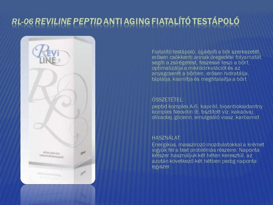 Fiatalító testápoló, újjáépíti a bőr szerkezetét, erősen csökkenti annak öregedési folyamatát, segíti a zsírégetést, feszessé teszi a bőrt, optimalizá