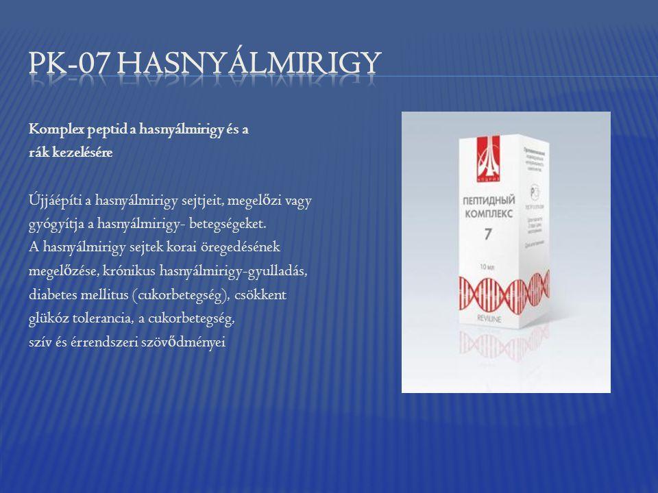 Komplex peptid a hasnyálmirigy és a rák kezelésére Újjáépíti a hasnyálmirigy sejtjeit, megel ő zi vagy gyógyítja a hasnyálmirigy- betegségeket. A hasn