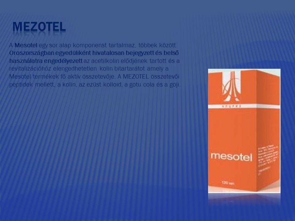 A Mesotel egy sor alap komponenst tartalmaz, többek között Oroszországban egyedüliként hivatalosan bejegyzett és belső használatra engedélyezett az ac