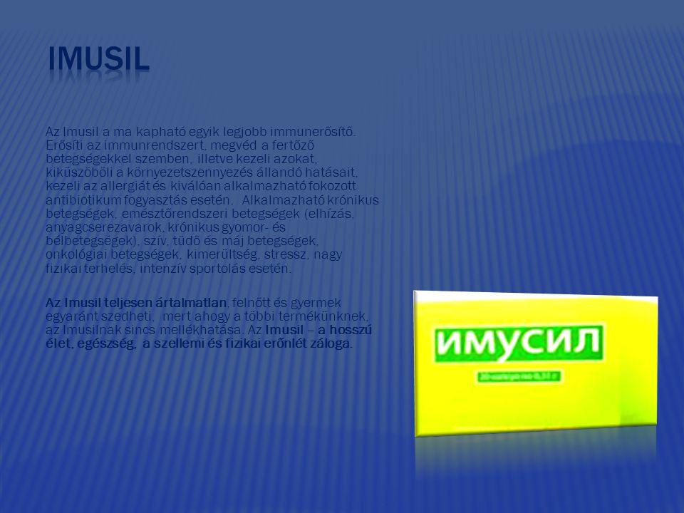 Az Imusil a ma kapható egyik legjobb immunerősítő. Erősíti az immunrendszert, megvéd a fertőző betegségekkel szemben, illetve kezeli azokat, kiküszöbö
