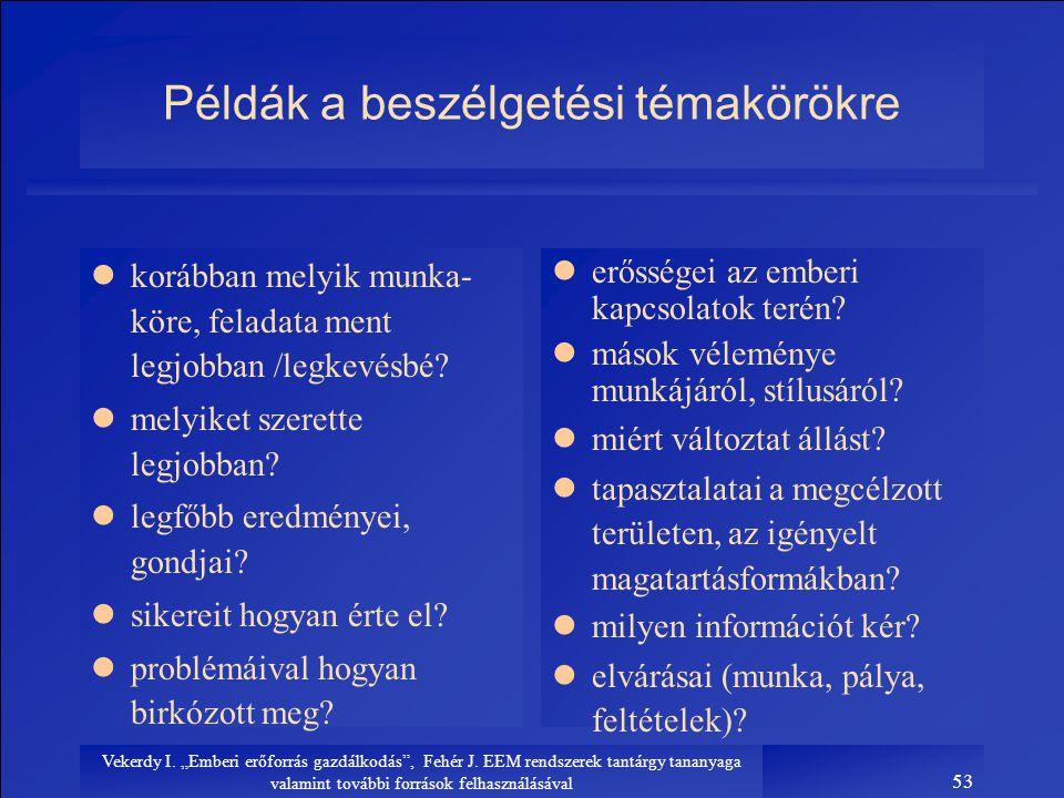 """Vekerdy I. """"Emberi erőforrás gazdálkodás"""", Fehér J. EEM rendszerek tantárgy tananyaga valamint további források felhasználásával 53 Példák a beszélget"""