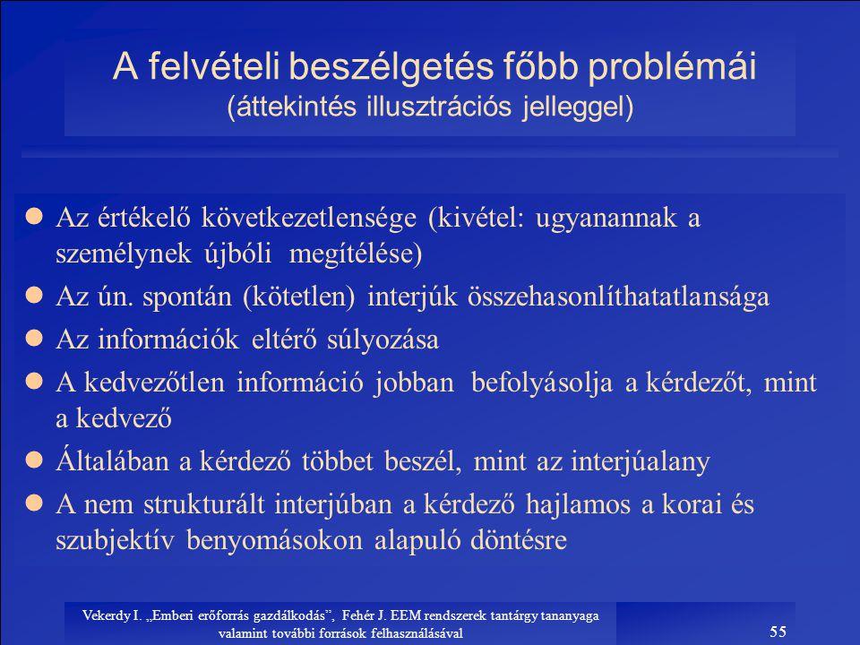 """Vekerdy I. """"Emberi erőforrás gazdálkodás"""", Fehér J. EEM rendszerek tantárgy tananyaga valamint további források felhasználásával 55 A felvételi beszél"""