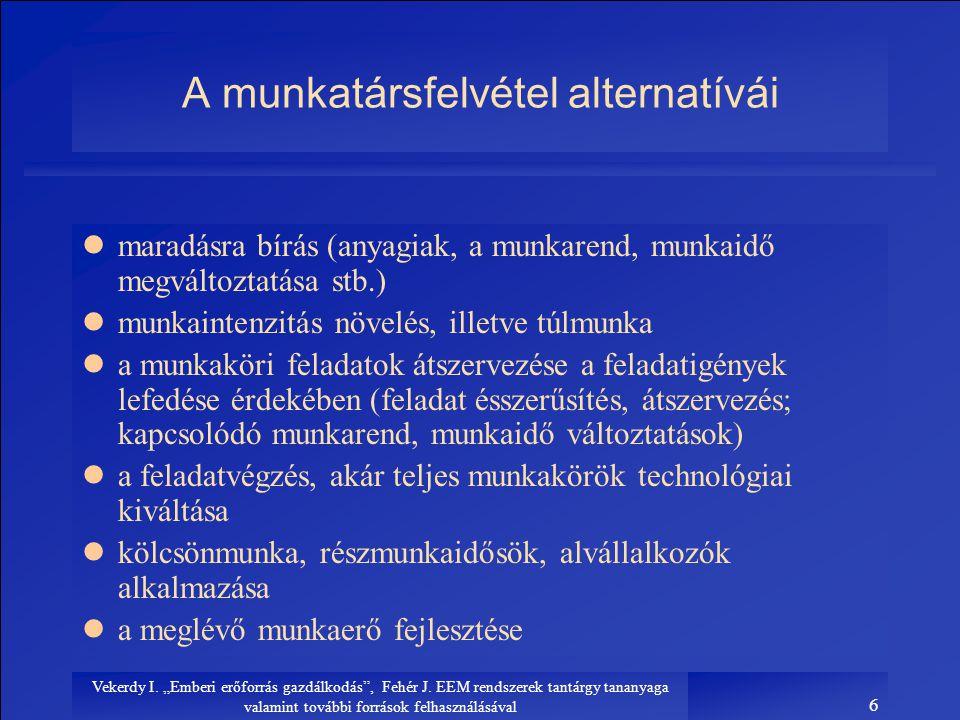 """Vekerdy I. """"Emberi erőforrás gazdálkodás"""", Fehér J. EEM rendszerek tantárgy tananyaga valamint további források felhasználásával 6 A munkatársfelvétel"""