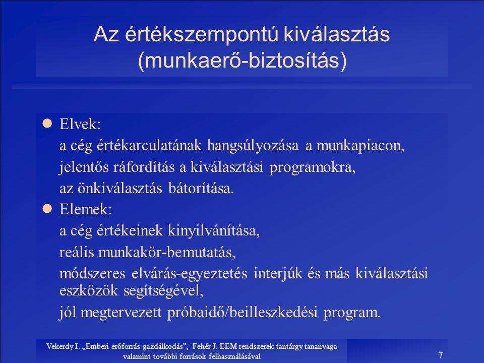 """Vekerdy I. """"Emberi erőforrás gazdálkodás"""", Fehér J. EEM rendszerek tantárgy tananyaga valamint további források felhasználásával 7 Az értékszempontú k"""