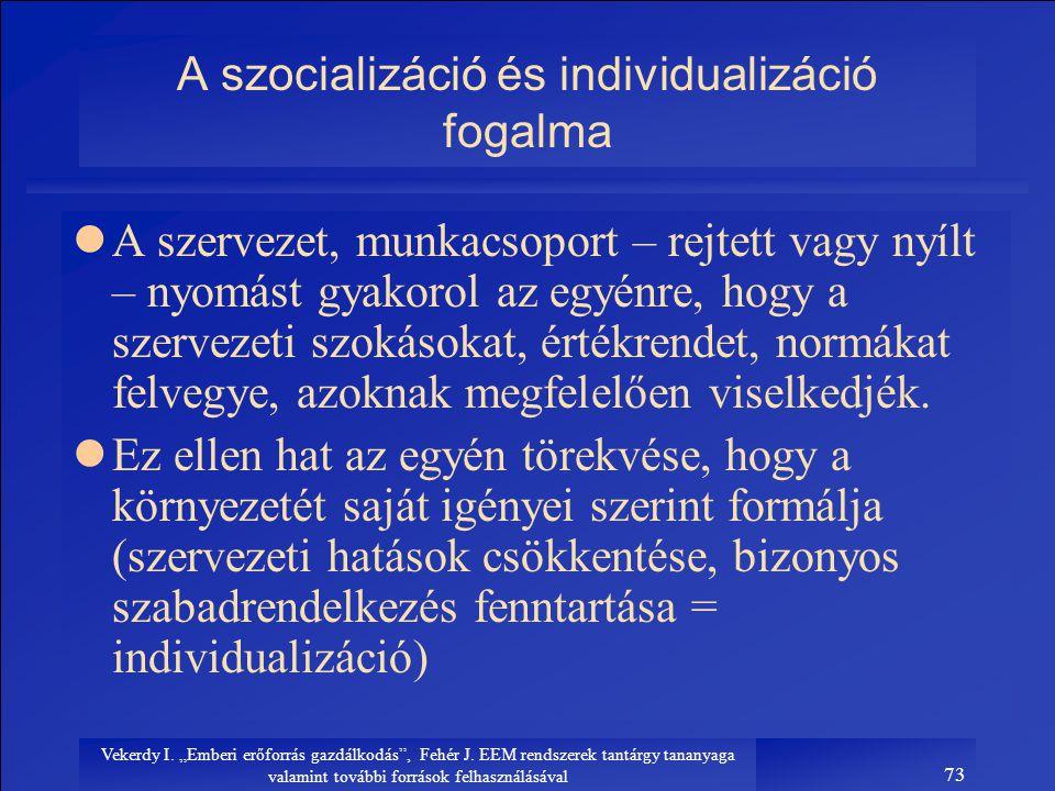 """Vekerdy I. """"Emberi erőforrás gazdálkodás"""", Fehér J. EEM rendszerek tantárgy tananyaga valamint további források felhasználásával 73 A szocializáció és"""