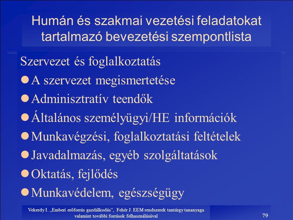 """Vekerdy I. """"Emberi erőforrás gazdálkodás"""", Fehér J. EEM rendszerek tantárgy tananyaga valamint további források felhasználásával 79 Humán és szakmai v"""