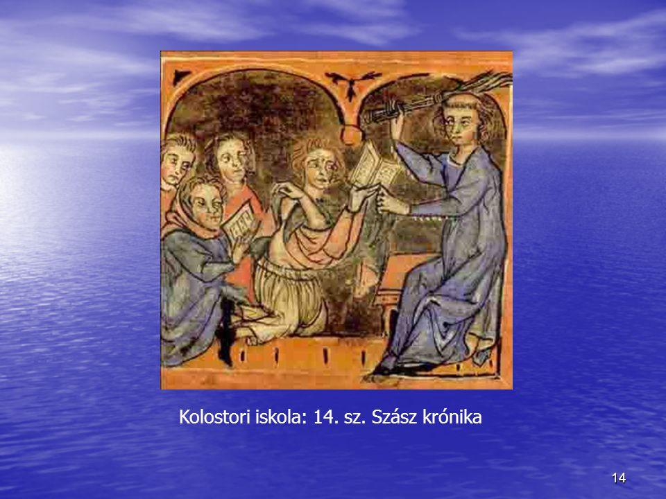 14 Kolostori iskola: 14. sz. Szász krónika