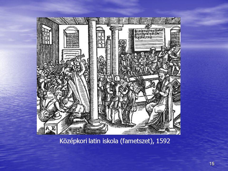 15 Középkori latin iskola (fametszet), 1592