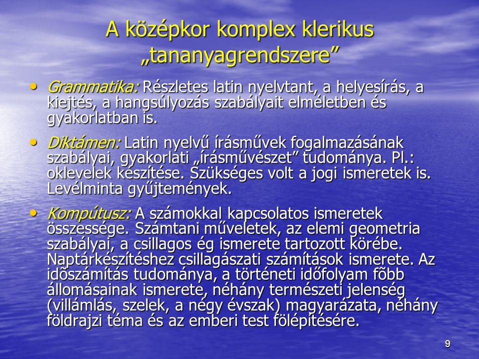 10 A tananyag módosulása Városi plébániai iskola: Első szint: Első szint: A XIV–XV.
