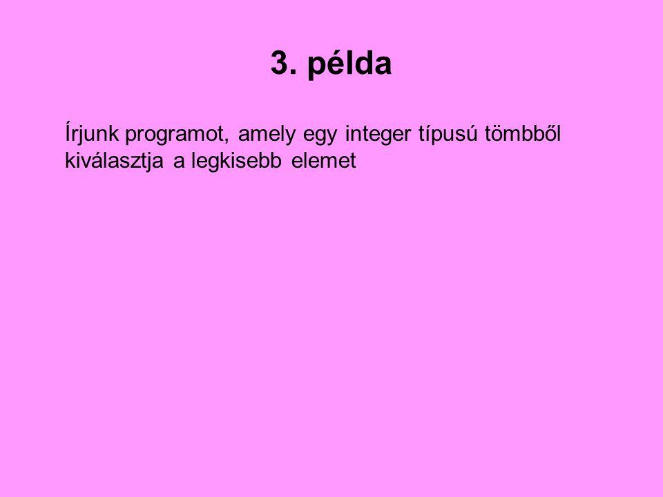 3. példa Írjunk programot, amely egy integer típusú tömbből kiválasztja a legkisebb elemet