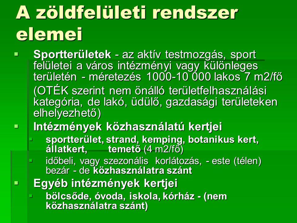 A zöldfelületi rendszer elemei  Sportterületek - az aktív testmozgás, sport felületei a város intézményi vagy különleges területén - méretezés 1000-1