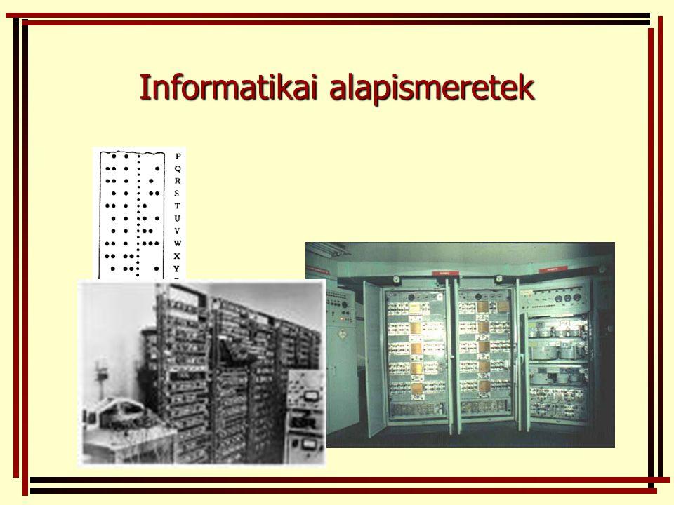 4.generáció (1980-tól) fő építőelem: mikroprocesszor (1969.