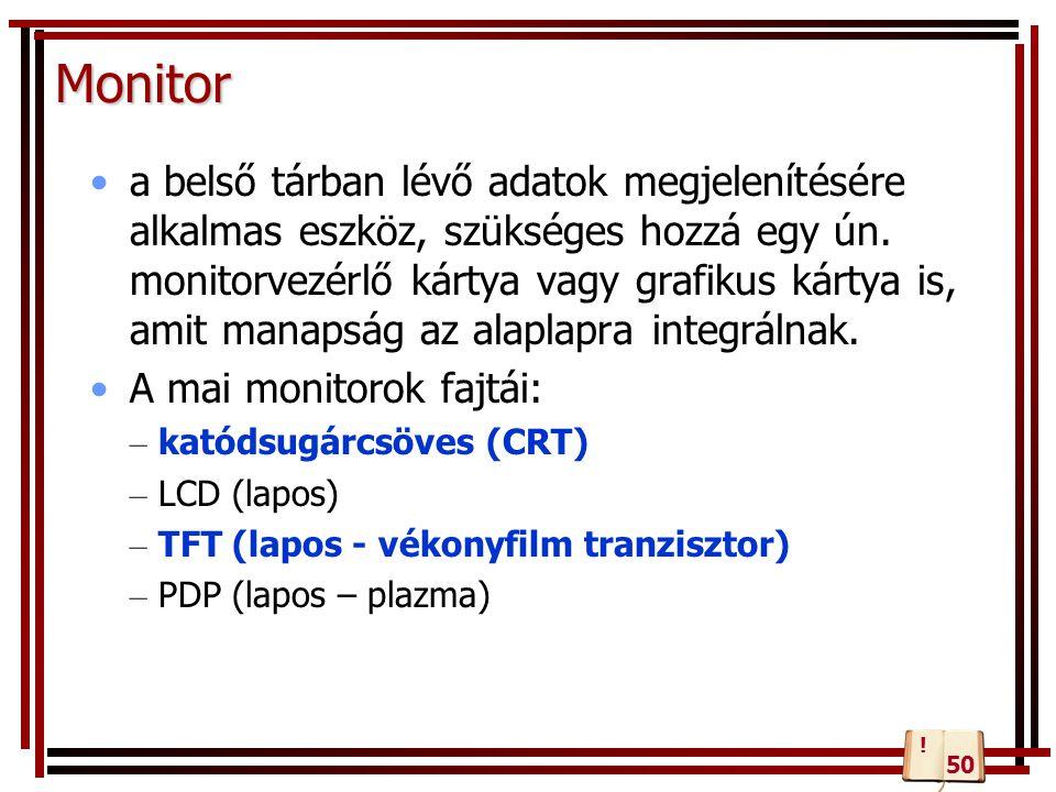 Monitor a belső tárban lévő adatok megjelenítésére alkalmas eszköz, szükséges hozzá egy ún. monitorvezérlő kártya vagy grafikus kártya is, amit manaps