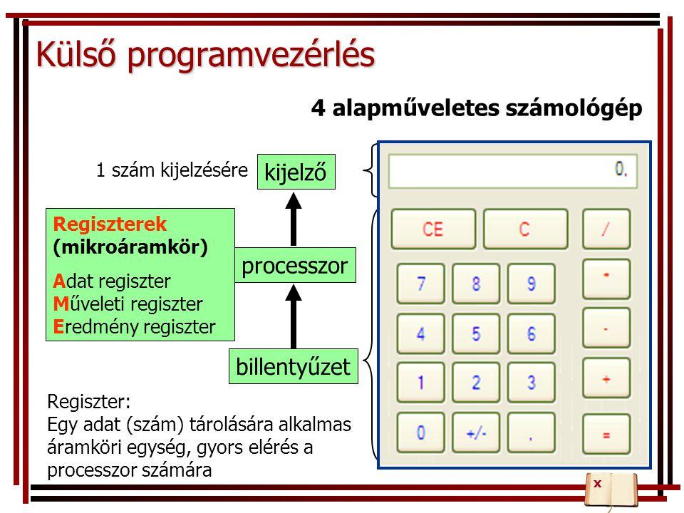 Regiszterek (mikroáramkör) Adat regiszter Műveleti regiszter Eredmény regiszter Külső programvezérlés kijelző processzor billentyűzet 1 szám kijelzésé