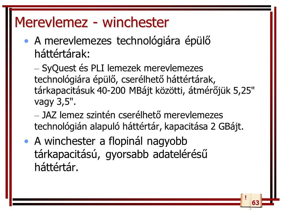 Merevlemez - winchester A merevlemezes technológiára épülő háttértárak: – SyQuest és PLI lemezek merevlemezes technológiára épülő, cserélhető háttértá