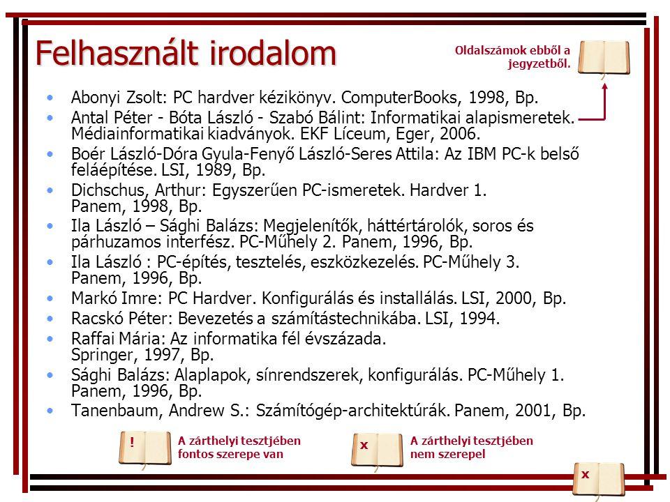 Felhasznált irodalom Abonyi Zsolt: PC hardver kézikönyv. ComputerBooks, 1998, Bp. Antal Péter - Bóta László - Szabó Bálint: Informatikai alapismeretek