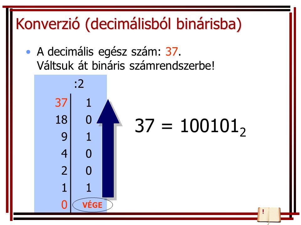 Konverzió (decimálisból binárisba) A decimális egész szám: 37. Váltsuk át bináris számrendszerbe! :2 371 180 91 40 20 11 0 37 = 100101 2 VÉGE !