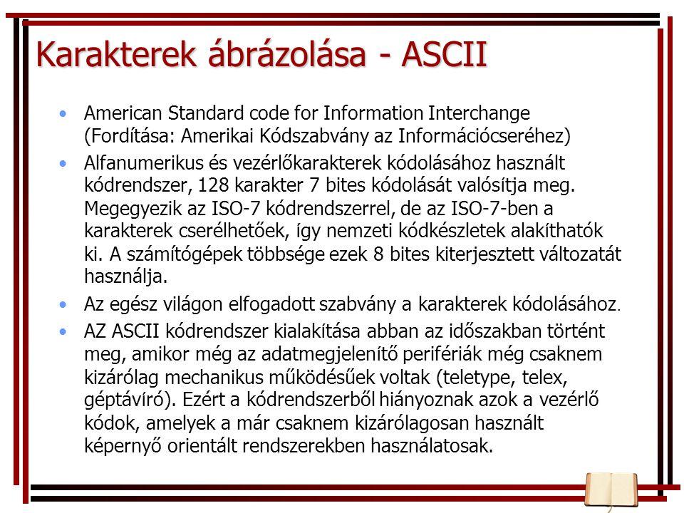 Karakterek ábrázolása - ASCII American Standard code for Information Interchange (Fordítása: Amerikai Kódszabvány az Információcseréhez) Alfanumerikus