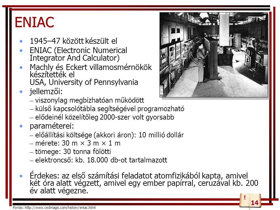 ENIAC 1945–47 között készült el ENIAC (Electronic Numerical Integrator And Calculator) Machly és Eckert villamosmérnökök készítették el USA, Universit