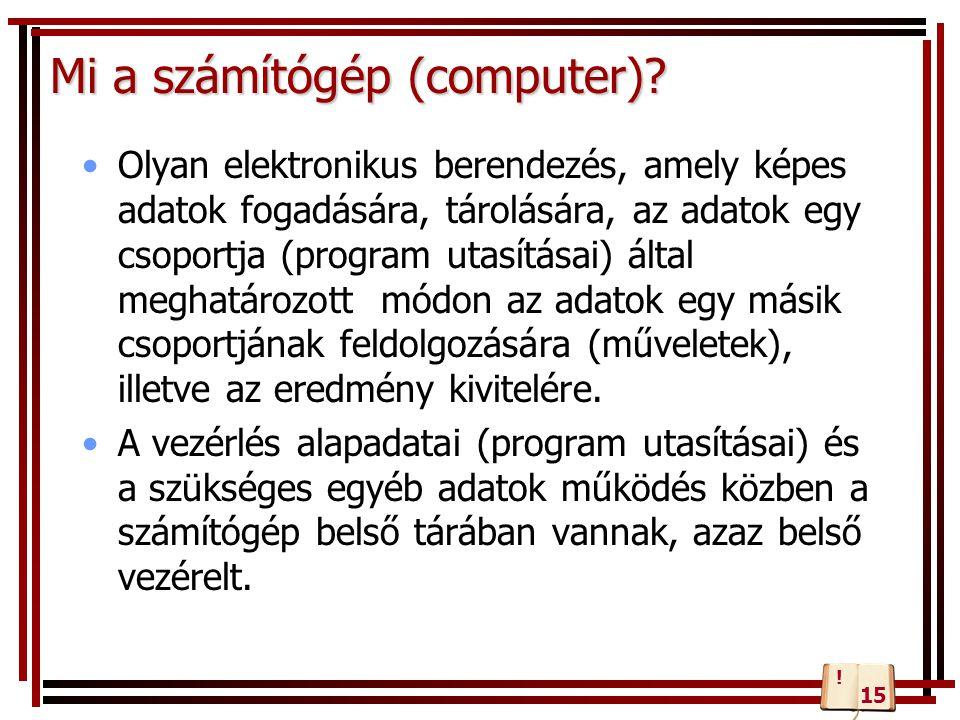 Szoftver (software) A számítógép erőforrásai Hardver (hardware) Ember A hardver és a szoftver elemek együttesével dolgozni képes ember.
