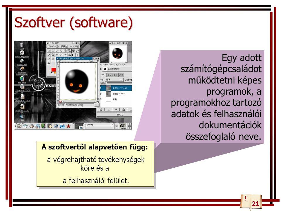 Egy adott számítógépcsaládot működtetni képes programok, a programokhoz tartozó adatok és felhasználói dokumentációk összefoglaló neve. Szoftver (soft
