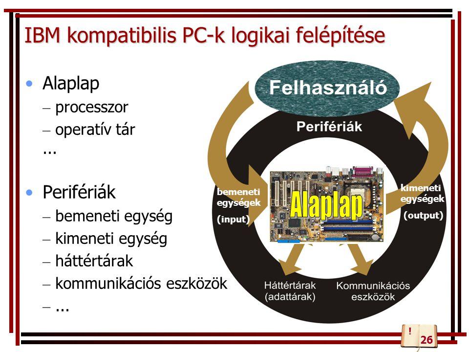 IBM kompatibilis PC-k logikai felépítése Alaplap – processzor – operatív tár... Perifériák – bemeneti egység – kimeneti egység – háttértárak – kommuni