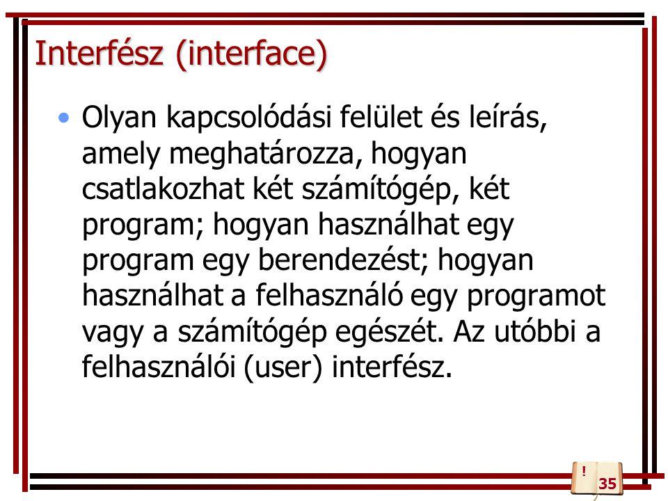 Interfész (interface) Olyan kapcsolódási felület és leírás, amely meghatározza, hogyan csatlakozhat két számítógép, két program; hogyan használhat egy
