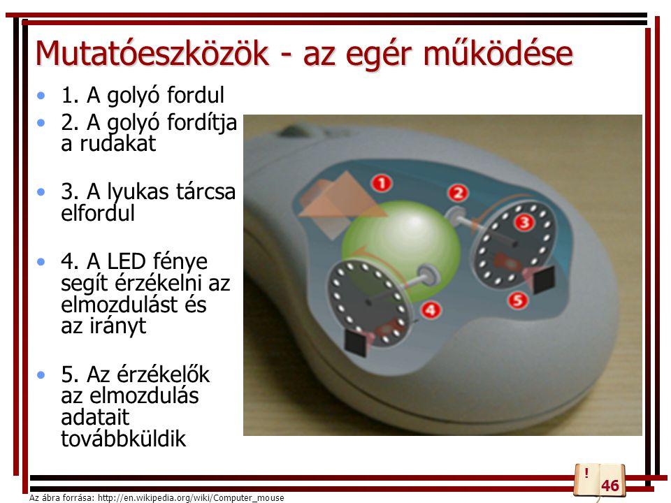 Mutatóeszközök - az egér működése 1. A golyó fordul 2. A golyó fordítja a rudakat 3. A lyukas tárcsa elfordul 4. A LED fénye segít érzékelni az elmozd