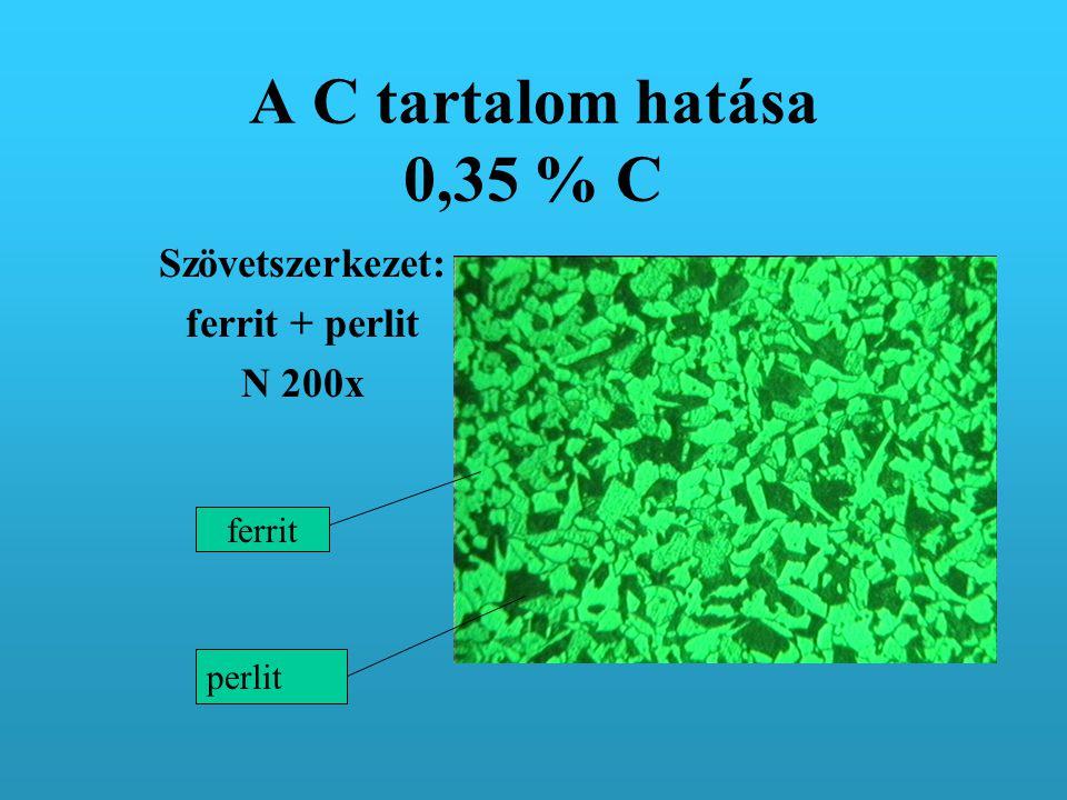 A C tartalom hatása 0,35 % C Szövetszerkezet: ferrit + perlit N 200x ferrit perlit