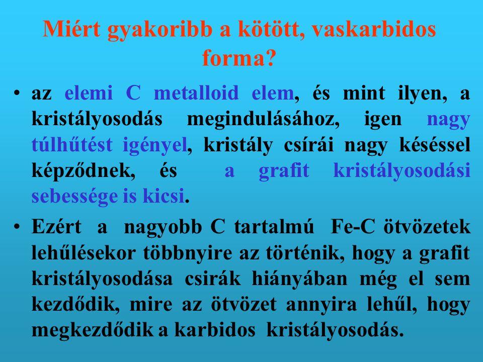 Tehát A vas-grafit (Fe - C) rendszer a stabil Az Fe - Fe 3 C rendszer a metastabil