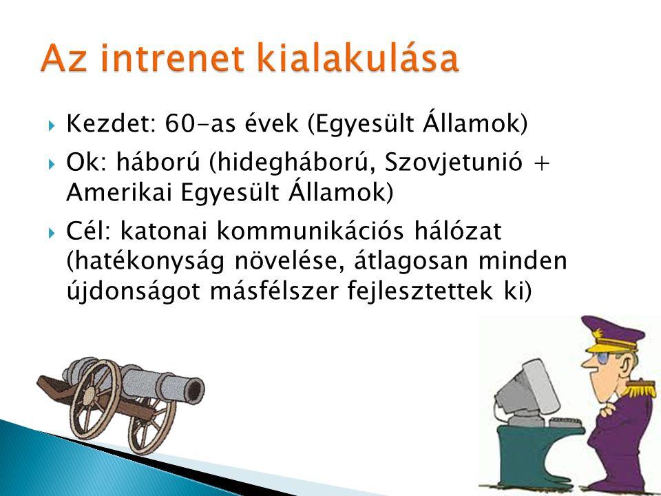  Kezdet: 60-as évek (Egyesült Államok)  Ok: háború (hidegháború, Szovjetunió + Amerikai Egyesült Államok)  Cél: katonai kommunikációs hálózat (haté
