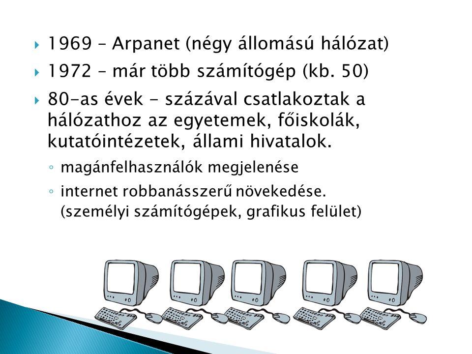  1969 – Arpanet (négy állomású hálózat)  1972 – már több számítógép (kb. 50)  80-as évek - százával csatlakoztak a hálózathoz az egyetemek, főiskol
