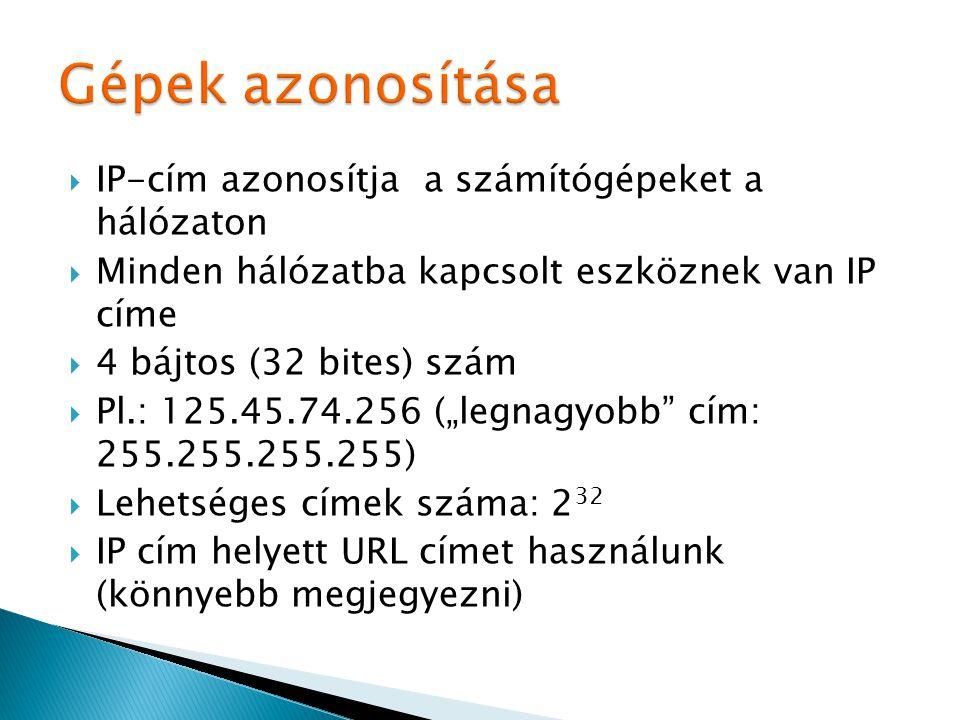 """ IP-cím azonosítja a számítógépeket a hálózaton  Minden hálózatba kapcsolt eszköznek van IP címe  4 bájtos (32 bites) szám  Pl.: 125.45.74.256 (""""l"""