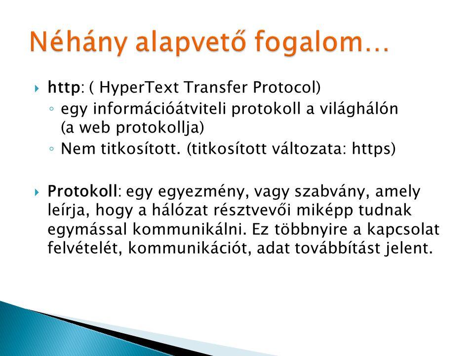  http: ( HyperText Transfer Protocol) ◦ egy információátviteli protokoll a világhálón (a web protokollja) ◦ Nem titkosított. (titkosított változata: