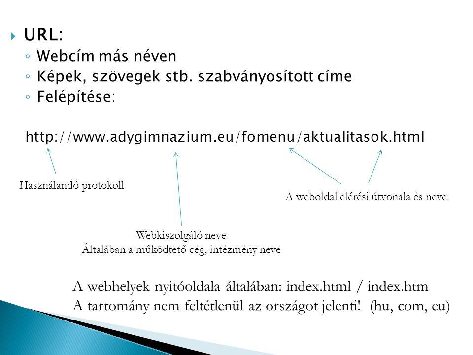  URL: ◦ Webcím más néven ◦ Képek, szövegek stb. szabványosított címe ◦ Felépítése: http://www.adygimnazium.eu/fomenu/aktualitasok.html Használandó pr