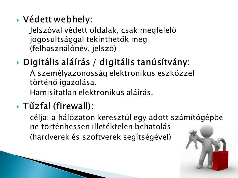  Védett webhely: Jelszóval védett oldalak, csak megfelelő jogosultsággal tekinthetők meg (felhasználónév, jelszó)  Digitális aláírás / digitális tan