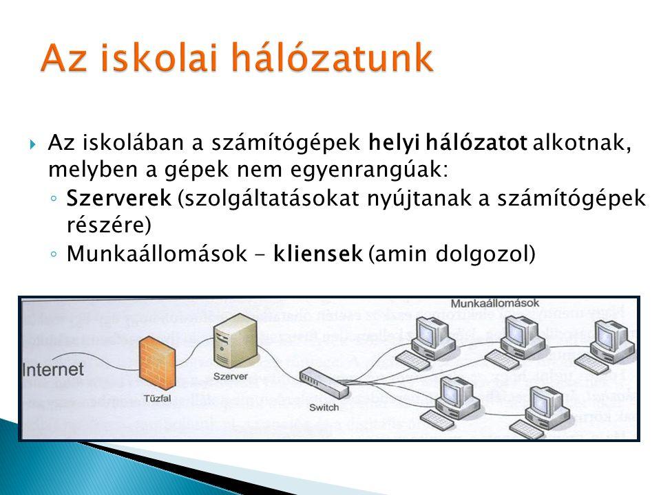  Az iskolában a számítógépek helyi hálózatot alkotnak, melyben a gépek nem egyenrangúak: ◦ Szerverek (szolgáltatásokat nyújtanak a számítógépek részé