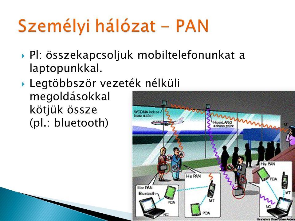  Pl: összekapcsoljuk mobiltelefonunkat a laptopunkkal.  Legtöbbször vezeték nélküli megoldásokkal kötjük össze (pl.: bluetooth)