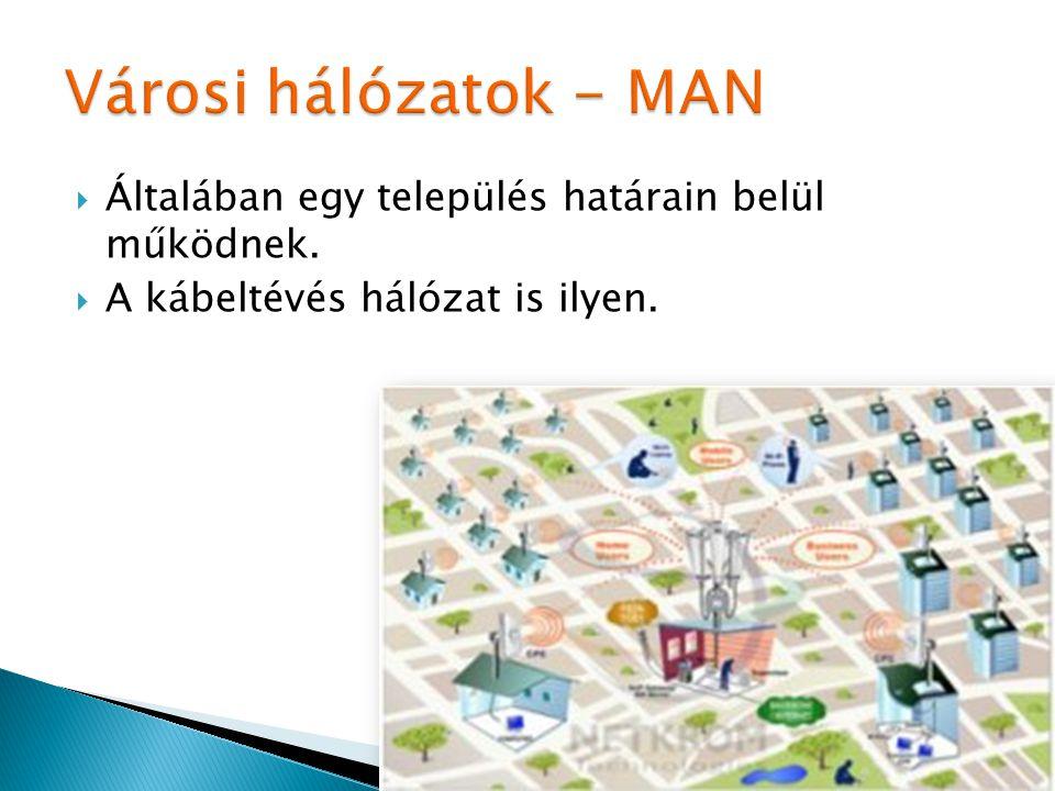  Általában egy település határain belül működnek.  A kábeltévés hálózat is ilyen.