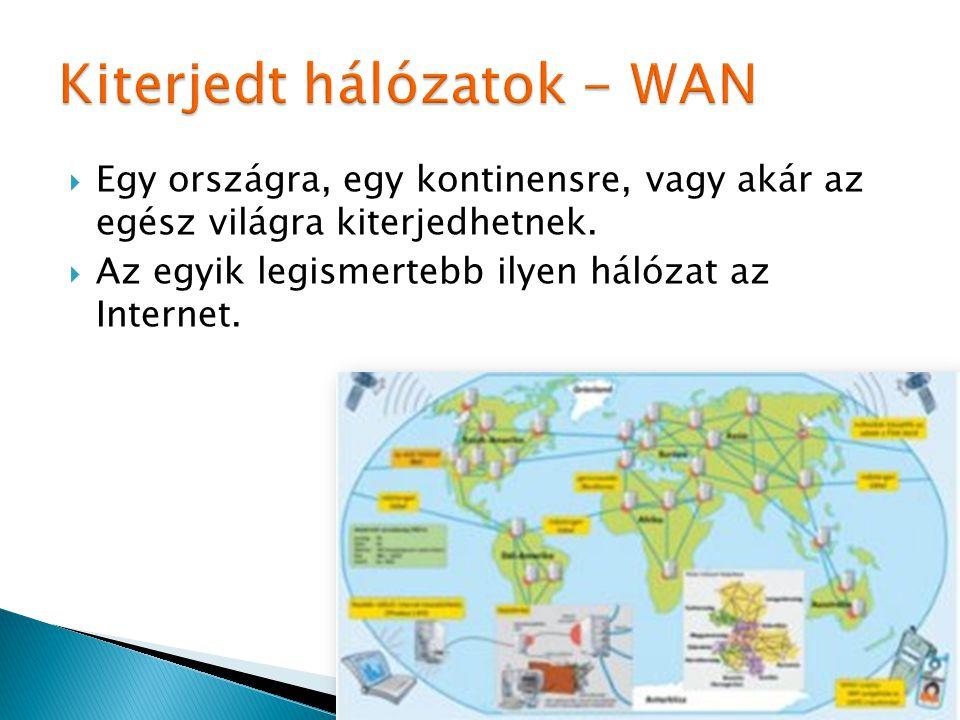  Egy országra, egy kontinensre, vagy akár az egész világra kiterjedhetnek.  Az egyik legismertebb ilyen hálózat az Internet.
