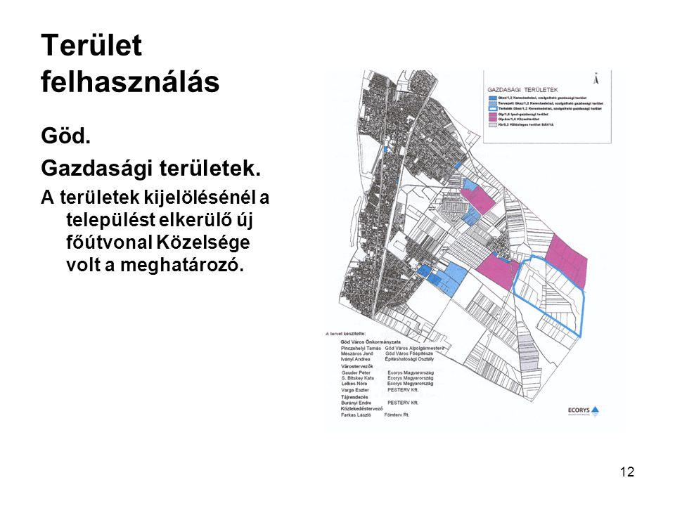 12 Terület felhasználás Göd. Gazdasági területek. A területek kijelölésénél a települést elkerülő új főútvonal Közelsége volt a meghatározó.