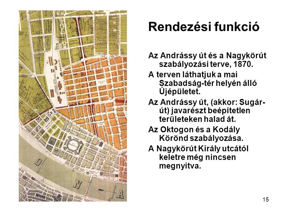 15 Rendezési funkció Az Andrássy út és a Nagykörút szabályozási terve, 1870. A terven láthatjuk a mai Szabadság-tér helyén álló Újépületet. Az Andráss