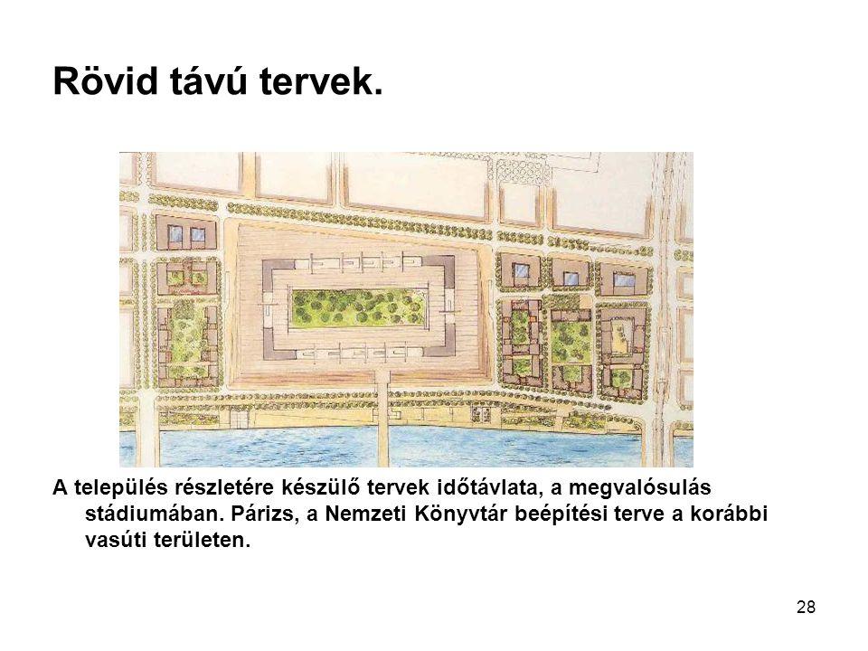 28 Rövid távú tervek. A település részletére készülő tervek időtávlata, a megvalósulás stádiumában. Párizs, a Nemzeti Könyvtár beépítési terve a koráb