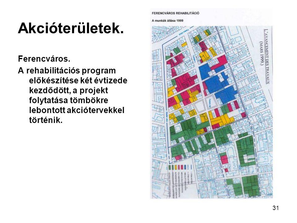 31 Akcióterületek. Ferencváros. A rehabilitációs program előkészítése két évtizede kezdődött, a projekt folytatása tömbökre lebontott akciótervekkel t